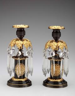 Pair of Regency Lacquered Brass Candlesticks with Glass Prisms - 1047592