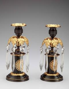 Pair of Regency Lacquered Brass Candlesticks with Glass Prisms - 1047593