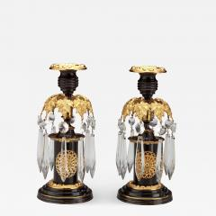 Pair of Regency Lacquered Brass Candlesticks with Glass Prisms - 1050011