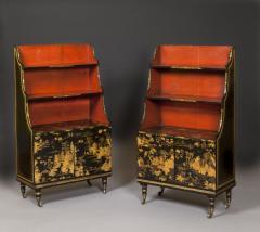 Pair of Regency Laquer Open Bookshelves Bookcases - 1155520