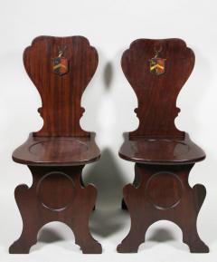 Pair of Regency Mahogany Armorial Hall Chairs - 1558072