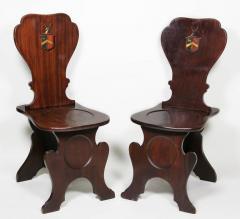 Pair of Regency Mahogany Armorial Hall Chairs - 1558082