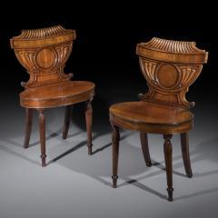 Pair of Regency Mahogany Hall Chairs - 1214347