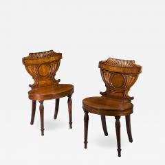 Pair of Regency Mahogany Hall Chairs - 1214355