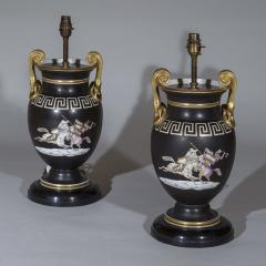 Pair of Regency Style Vase Lamps in Black and Gold with Greek Key Ornaments - 1077483