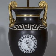 Pair of Regency Style Vase Lamps in Black and Gold with Greek Key Ornaments - 1077486