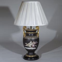 Pair of Regency Style Vase Lamps in Black and Gold with Greek Key Ornaments - 1077487