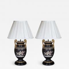 Pair of Regency Style Vase Lamps in Black and Gold with Greek Key Ornaments - 1078846