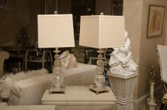 Pair of Rock Crystal Ball Lamps with Custom Shades - 483329
