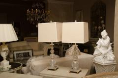 Pair of Rock Crystal Ball Lamps with Custom Shades - 483331