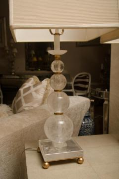 Pair of Rock Crystal Ball Lamps with Custom Shades - 483334