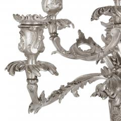 Pair of Rococo style silvered bronze seven light candelabra - 1451651