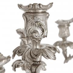 Pair of Rococo style silvered bronze seven light candelabra - 1451652