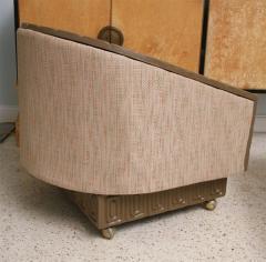 Pair of Romweber Limed Oak Revolving Club Chairs - 373232