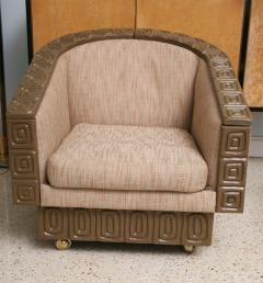 Pair of Romweber Limed Oak Revolving Club Chairs - 373233