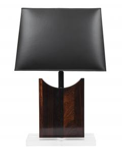 Pair of Rosewood Table Lamps With Lucite Bases - 626138