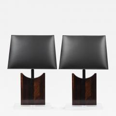 Pair of Rosewood Table Lamps With Lucite Bases - 642735