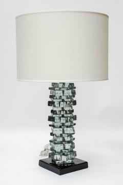 Pair of Rough Cut Edges Murano Glass Table Lamps - 894613