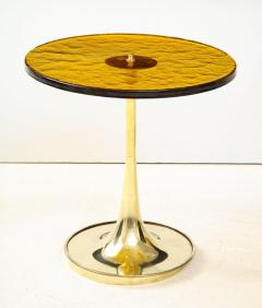 Pair of Round Bronze Murano Glass and Brass Martini or Side Tables Italy 2021 - 2004449