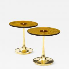 Pair of Round Bronze Murano Glass and Brass Martini or Side Tables Italy 2021 - 2010044