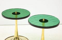 Pair of Round Emerald Green Murano Glass and Brass Martini Tables Italy 2021 - 2004423
