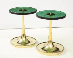 Pair of Round Emerald Green Murano Glass and Brass Martini Tables Italy 2021 - 2004424