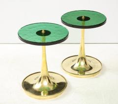 Pair of Round Emerald Green Murano Glass and Brass Martini Tables Italy 2021 - 2004425