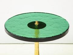 Pair of Round Emerald Green Murano Glass and Brass Martini Tables Italy 2021 - 2004426