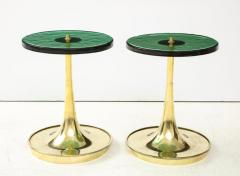 Pair of Round Emerald Green Murano Glass and Brass Martini Tables Italy 2021 - 2004427