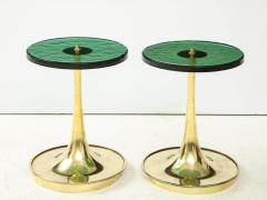 Pair of Round Emerald Green Murano Glass and Brass Martini Tables Italy 2021 - 2004429
