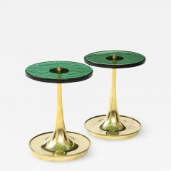 Pair of Round Emerald Green Murano Glass and Brass Martini Tables Italy 2021 - 2010043