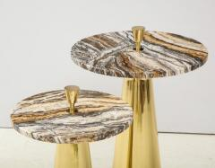 Pair of Round Fantasy Brown Onyx Marble and Brass Side or Martini Tables Italy - 1998798