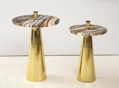 Pair of Round Fantasy Brown Onyx Marble and Brass Side or Martini Tables Italy - 1998799