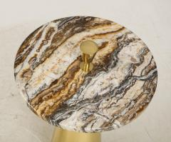 Pair of Round Fantasy Brown Onyx Marble and Brass Side or Martini Tables Italy - 1998800