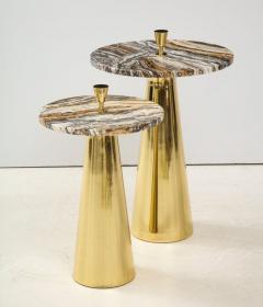 Pair of Round Fantasy Brown Onyx Marble and Brass Side or Martini Tables Italy - 1998802
