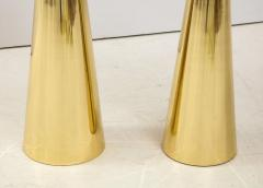 Pair of Round Fantasy Brown Onyx Marble and Brass Side or Martini Tables Italy - 1998803