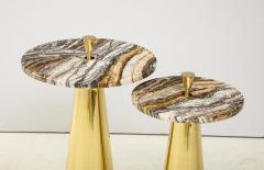 Pair of Round Fantasy Brown Onyx Marble and Brass Side or Martini Tables Italy - 1998804