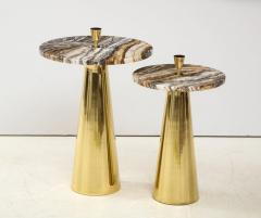 Pair of Round Fantasy Brown Onyx Marble and Brass Side or Martini Tables Italy - 1998806