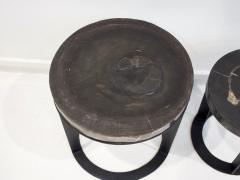 Pair of Round Petrified Wood Side Tables on Black Metal Base - 1260232