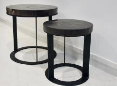 Pair of Round Petrified Wood Side Tables on Black Metal Base - 1260237