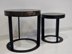 Pair of Round Petrified Wood Side Tables on Black Metal Base - 1260238