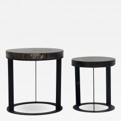 Pair of Round Petrified Wood Side Tables on Black Metal Base - 1262765