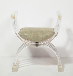 Pair of Savonarola Form Lucite Benches - 1965774