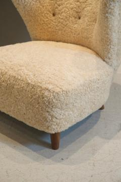 Pair of Scandinavian Low Chairs in Shearling 1940s - 1566893