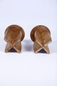 Pair of Scandinavian Modern Pine Stools Sweden 1950s - 1585885