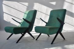 Pair of Sculptural Danish Lounge Chairs - 556561