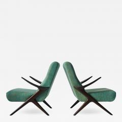 Pair of Sculptural Danish Lounge Chairs - 557077