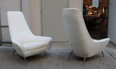 Pair of Sculptural Italian Tall Back Armchairs - 1720238
