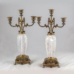 Pair of Silvered and Gilt Bronze Rock Crystal Three Light Candelabra - 2034307