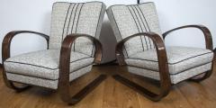 Pair of Sleek Mid Century Halabala Style Lounge Chairs - 925068